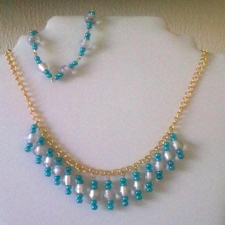 turquoise and clear glass beads bracelet myowncreation handmade